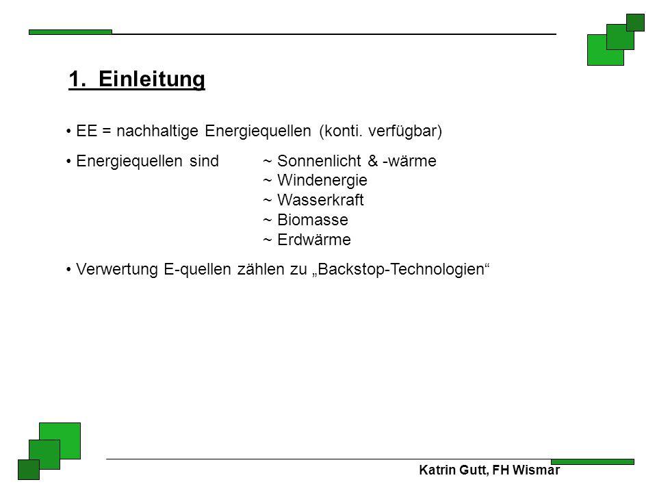 1. Einleitung EE = nachhaltige Energiequellen (konti. verfügbar)