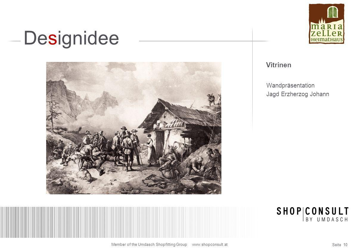 Designidee Vitrinen Wandpräsentation Jagd Erzherzog Johann
