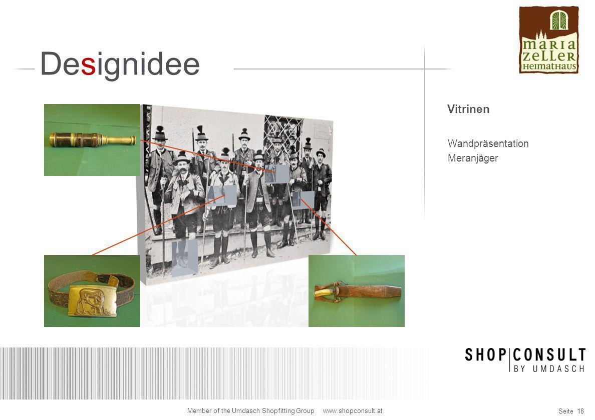 Designidee Vitrinen Wandpräsentation Meranjäger