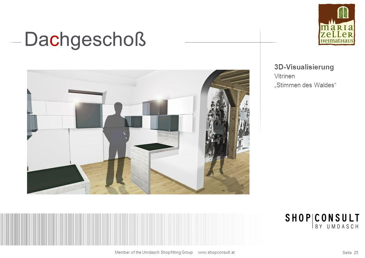 """Dachgeschoß 3D-Visualisierung Vitrinen """"Stimmen des Waldes"""