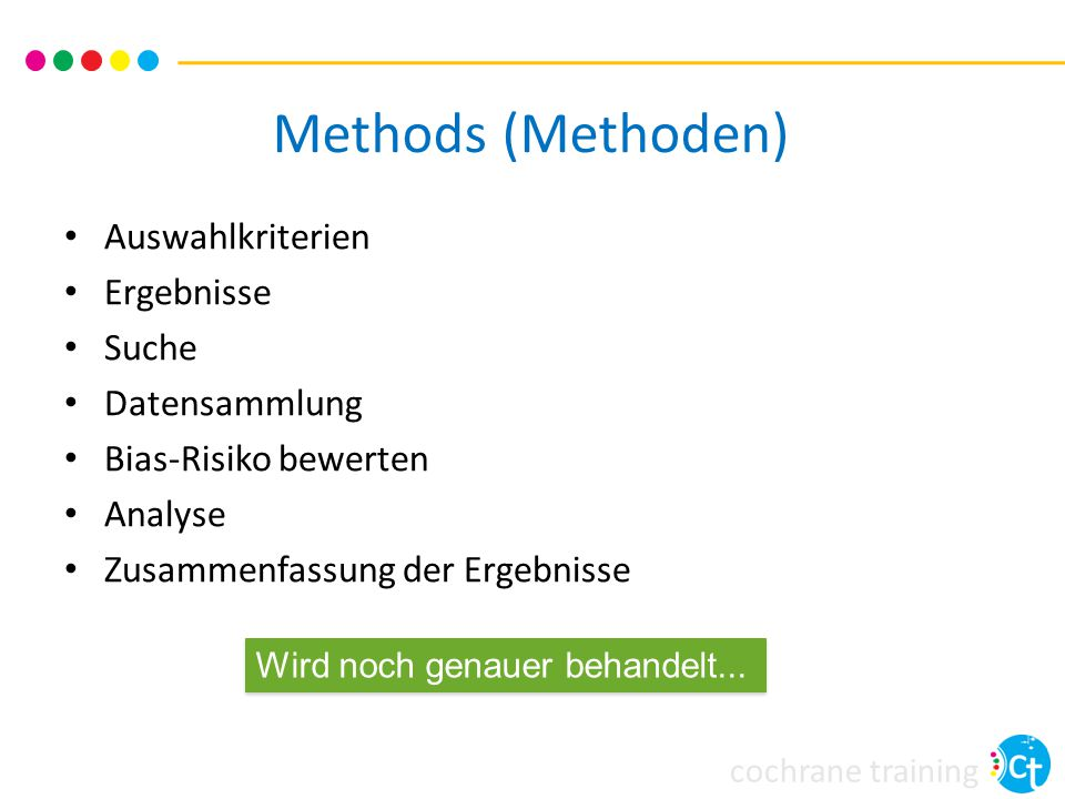 Methods (Methoden) Auswahlkriterien Ergebnisse Suche Datensammlung