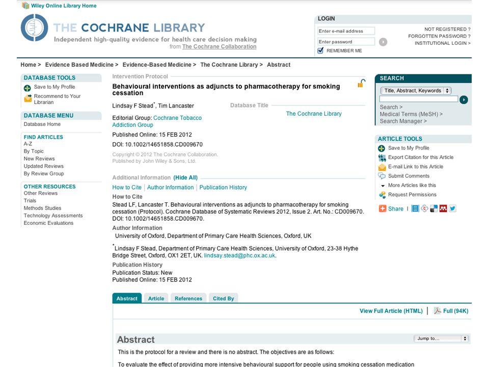 Cochrane Protokolle verfügen über ein einheitliches Format
