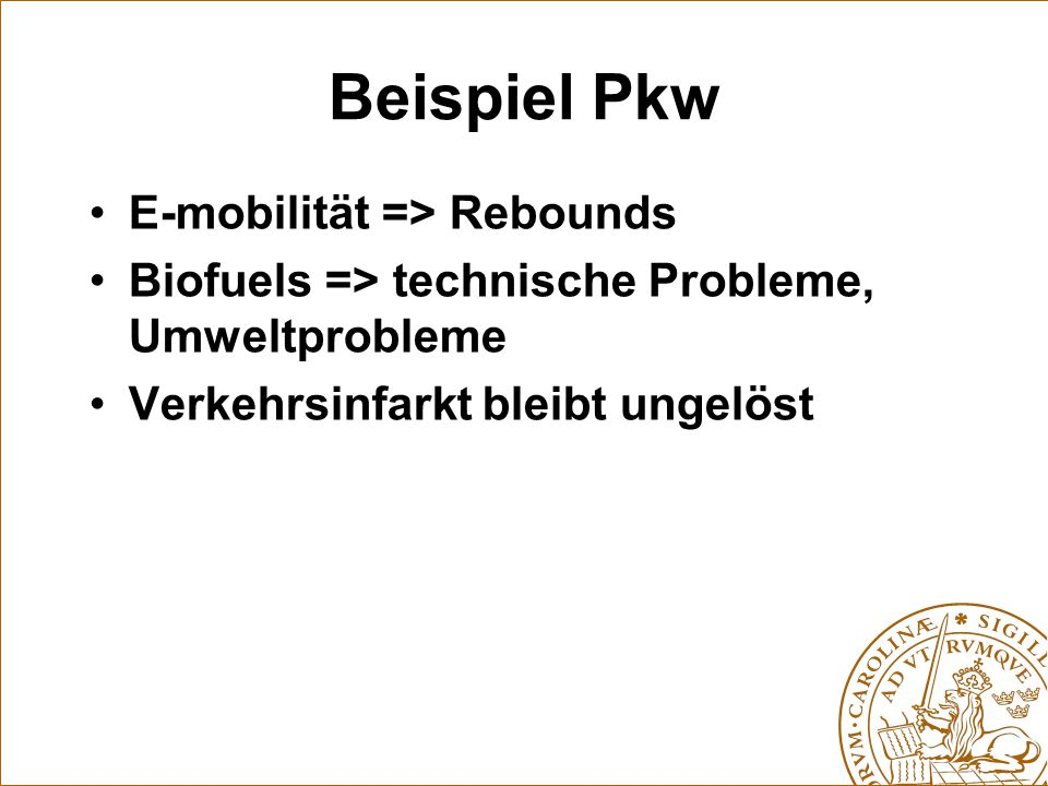 Beispiel Pkw E-mobilität => Rebounds