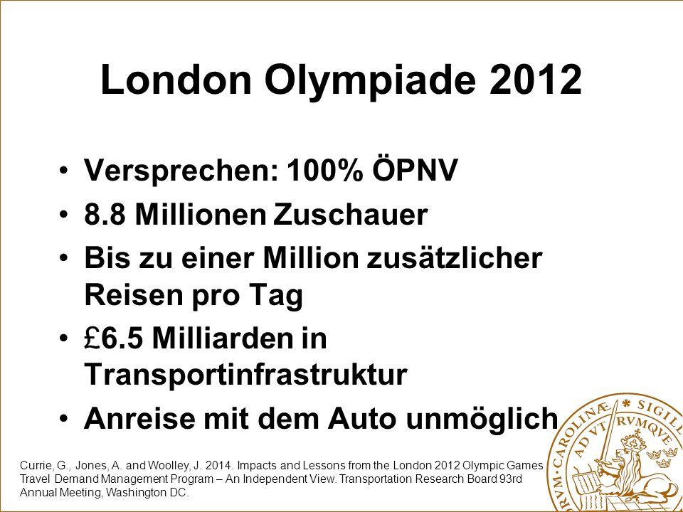 London Olympiade 2012 Versprechen: 100% ÖPNV 8.8 Millionen Zuschauer