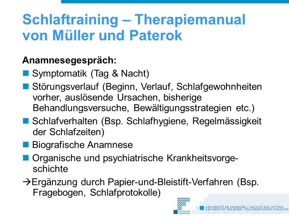 Schlaftraining – Therapiemanual von Müller und Paterok