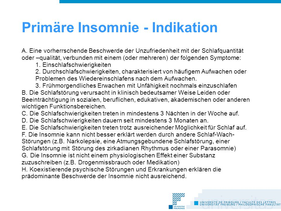 Primäre Insomnie - Indikation