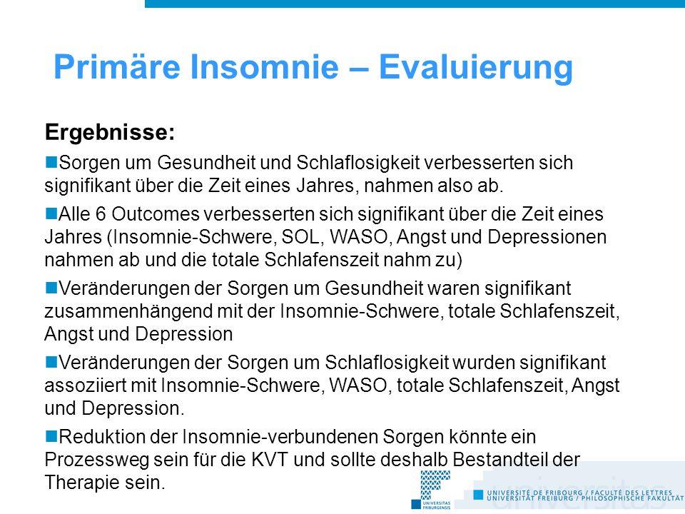 Primäre Insomnie – Evaluierung