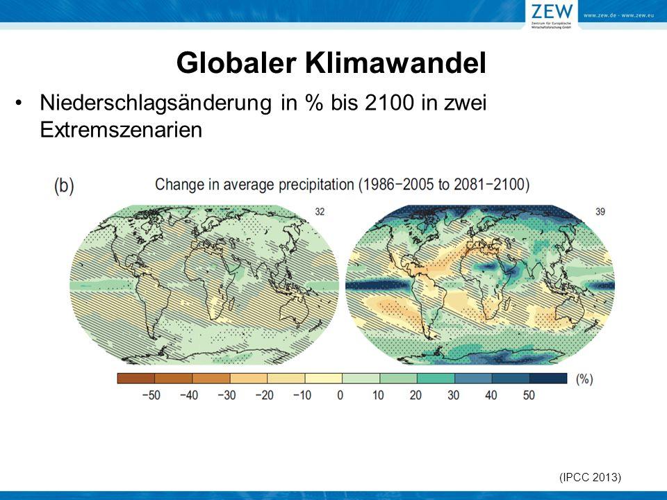 Globaler Klimawandel Niederschlagsänderung in % bis 2100 in zwei Extremszenarien.