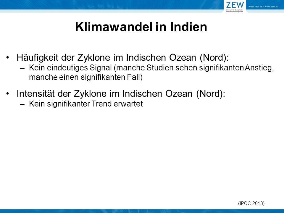 Klimawandel in Indien Häufigkeit der Zyklone im Indischen Ozean (Nord):