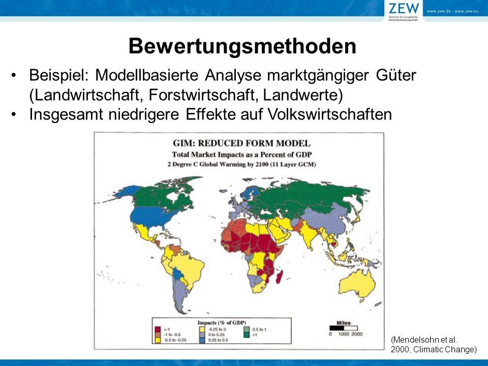 Bewertungsmethoden Beispiel: Modellbasierte Analyse marktgängiger Güter (Landwirtschaft, Forstwirtschaft, Landwerte)