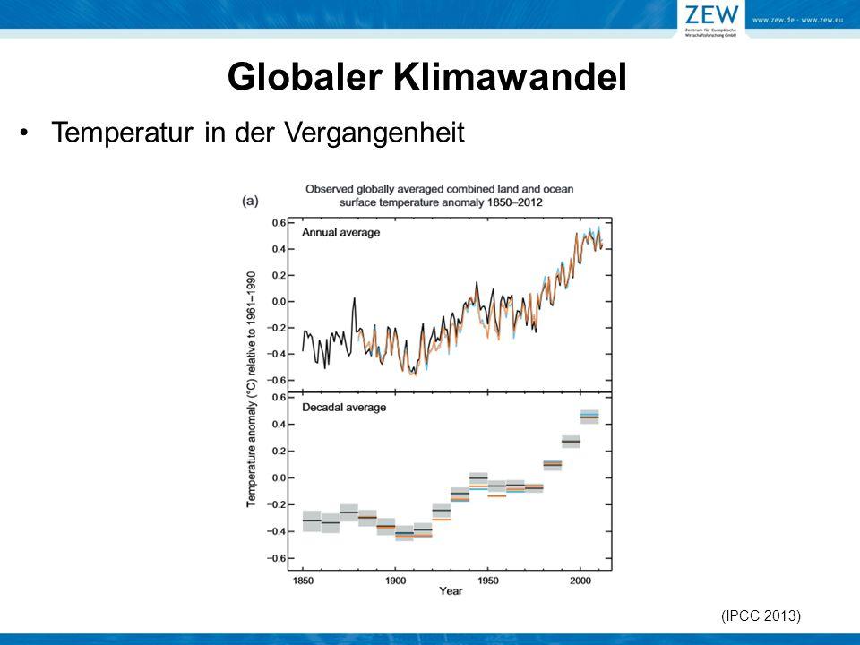 Globaler Klimawandel Temperatur in der Vergangenheit