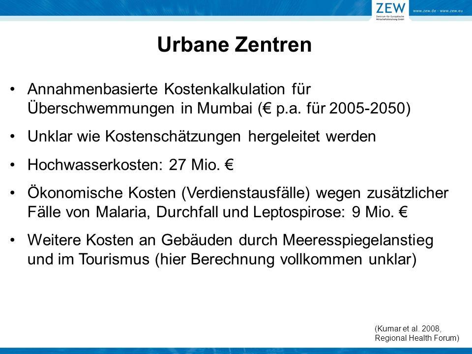 Urbane Zentren Annahmenbasierte Kostenkalkulation für Überschwemmungen in Mumbai (€ p.a. für 2005-2050)