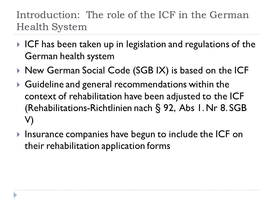 Introduction: The role of the ICF in the German Health System