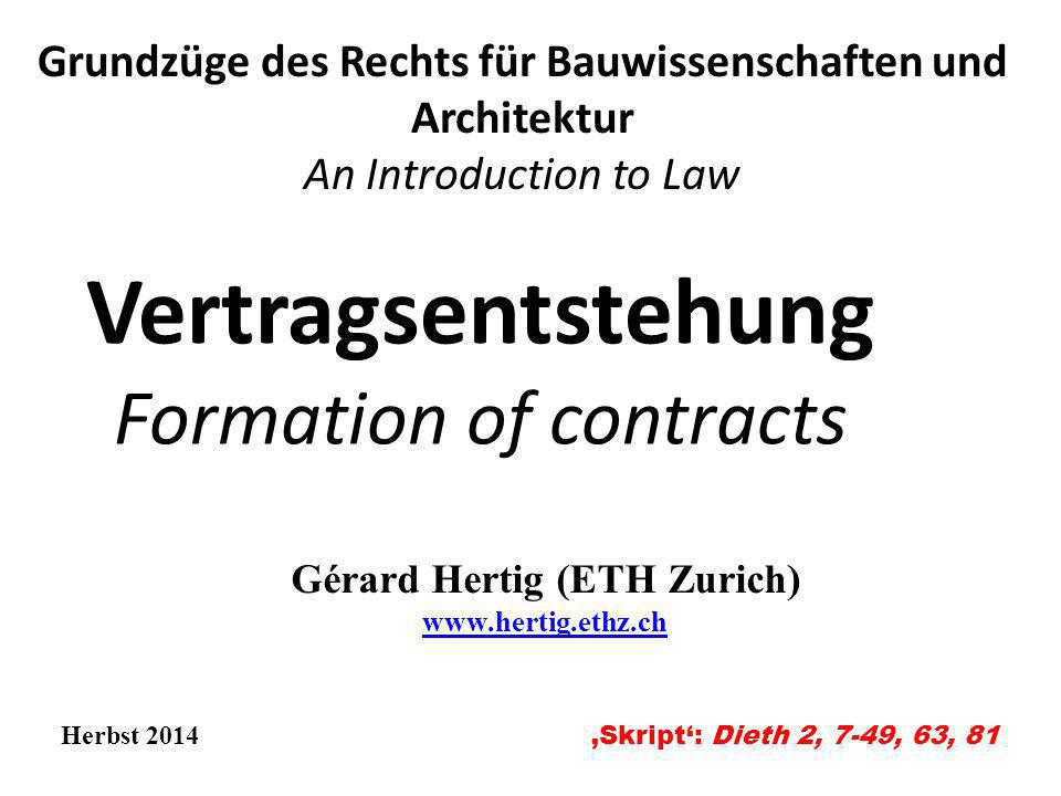 Vertragsentstehung Formation of contracts