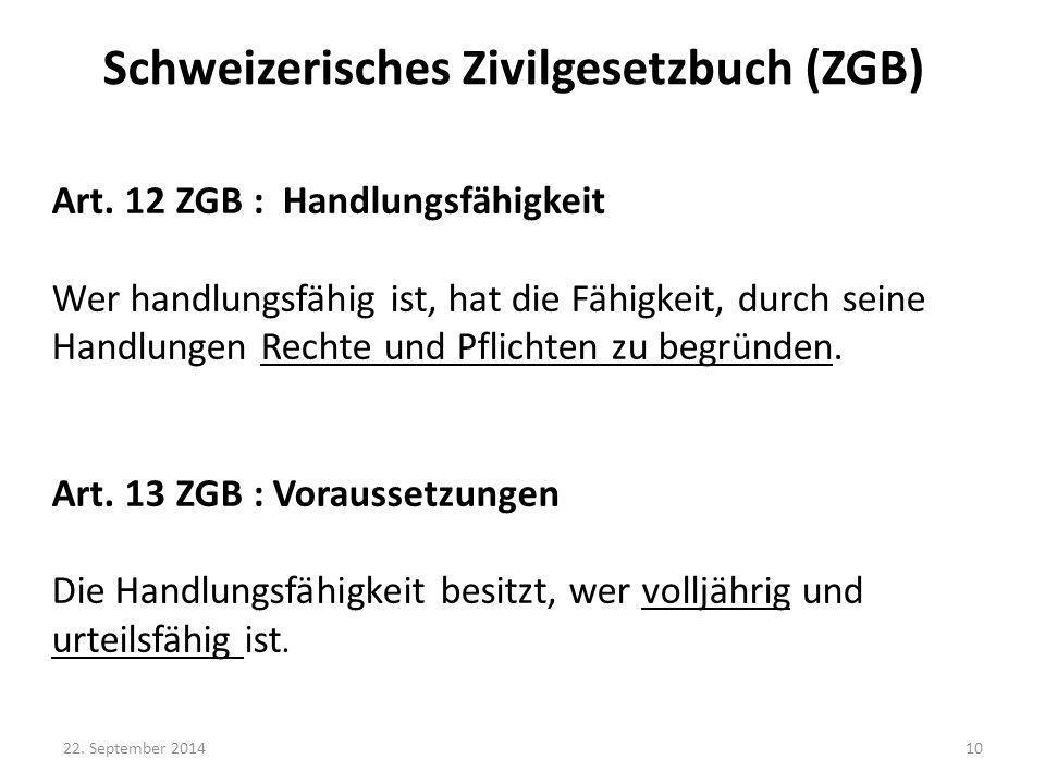 Schweizerisches Zivilgesetzbuch (ZGB)