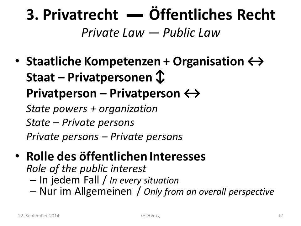 3. Privatrecht ▬ Öffentliches Recht Private Law ― Public Law