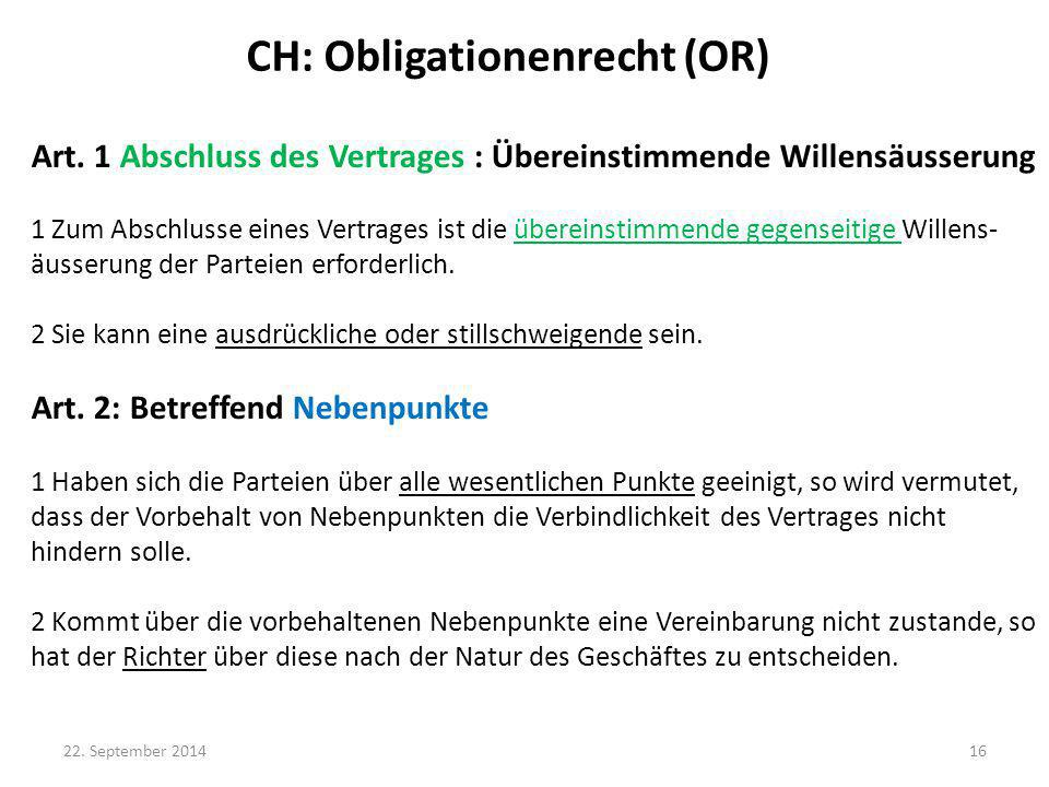 CH: Obligationenrecht (OR)