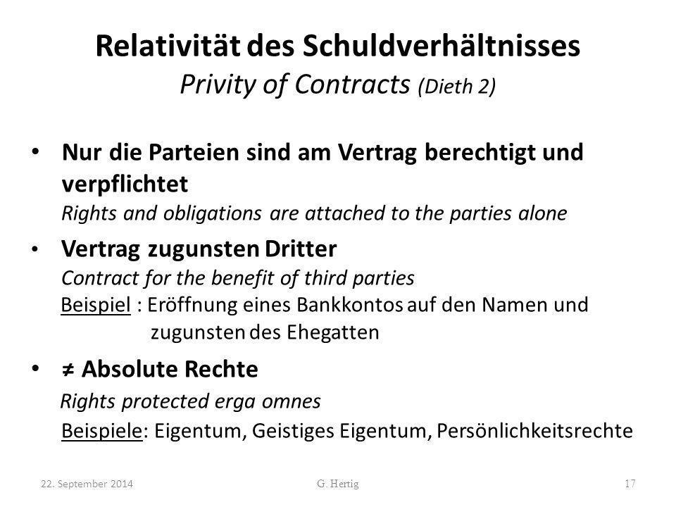 Relativität des Schuldverhältnisses Privity of Contracts (Dieth 2)