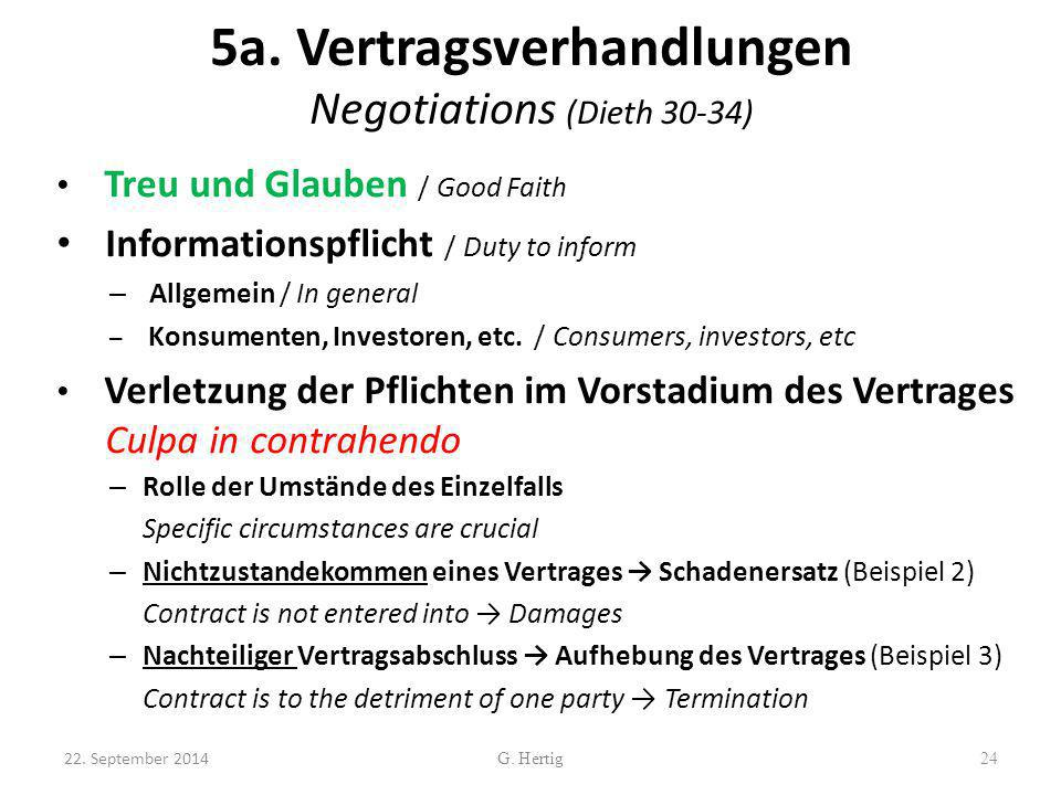 5a. Vertragsverhandlungen Negotiations (Dieth 30-34)