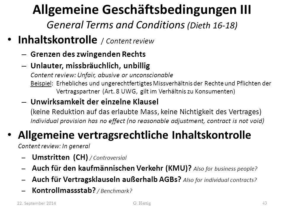 Allgemeine Geschäftsbedingungen III General Terms and Conditions (Dieth 16-18)