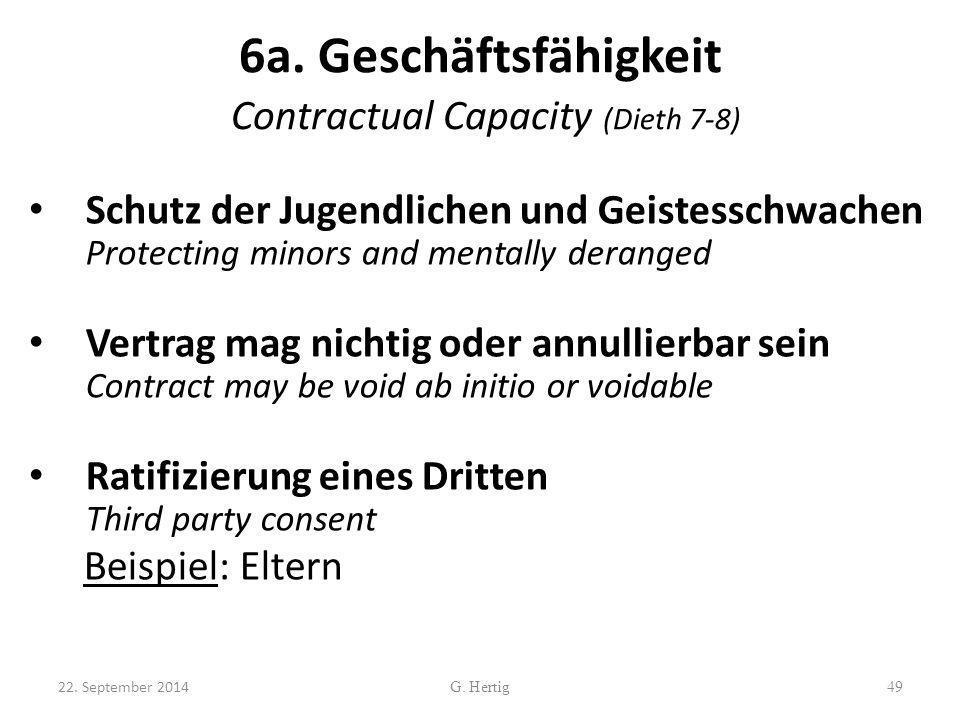 6a. Geschäftsfähigkeit Contractual Capacity (Dieth 7-8)
