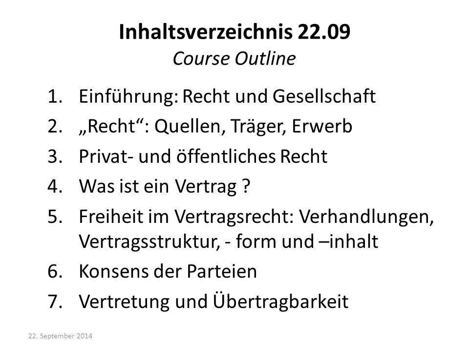 Inhaltsverzeichnis 22.09 Course Outline