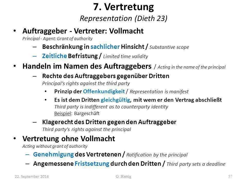 7. Vertretung Representation (Dieth 23)