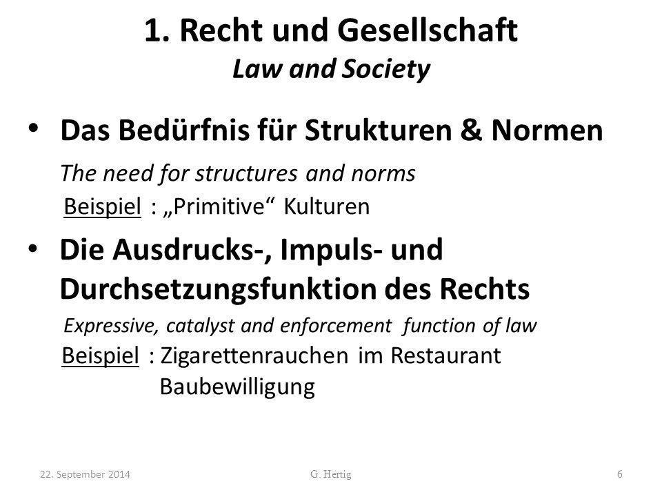 1. Recht und Gesellschaft Law and Society