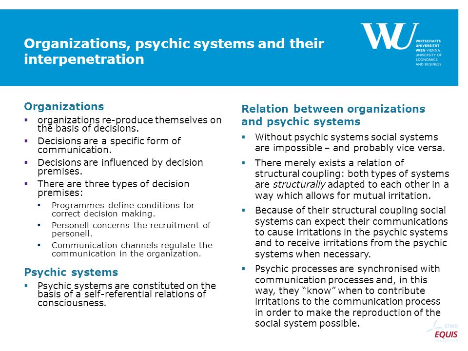 Organizations, psychic systems and their interpenetration