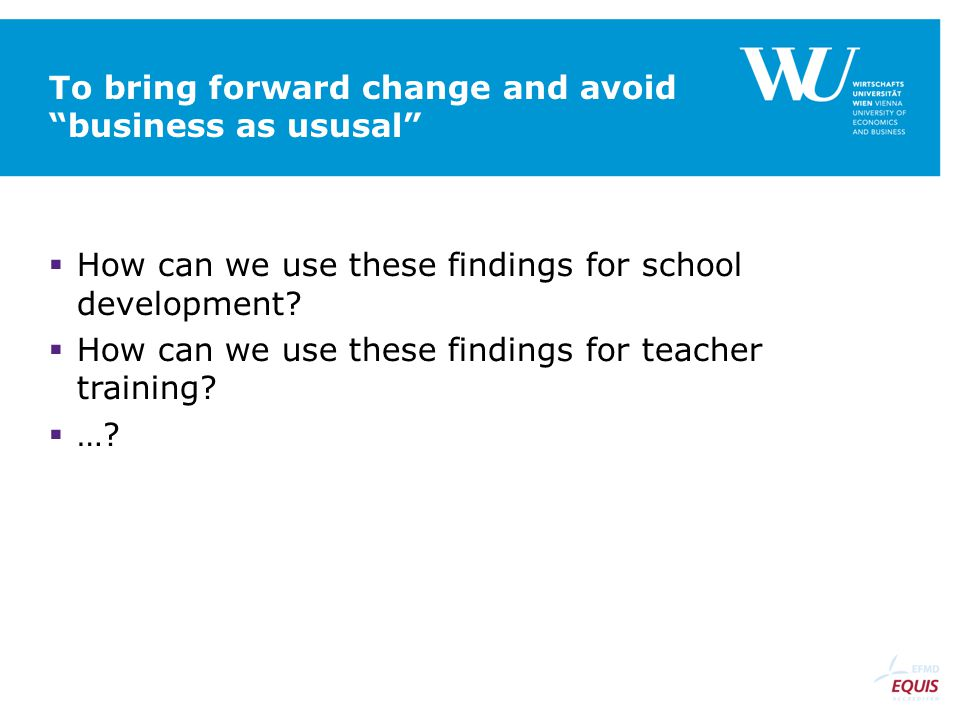 To bring forward change and avoid business as ususal