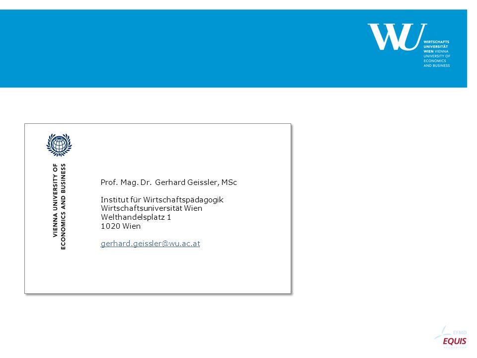 Prof. Mag. Dr. Gerhard Geissler, MSc