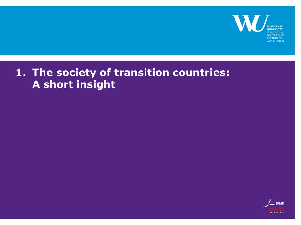 The society of transition countries: A short insight