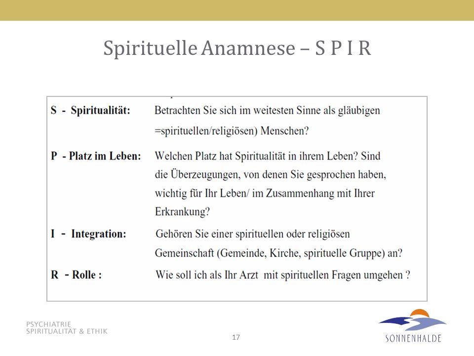 Spirituelle Anamnese – S P I R
