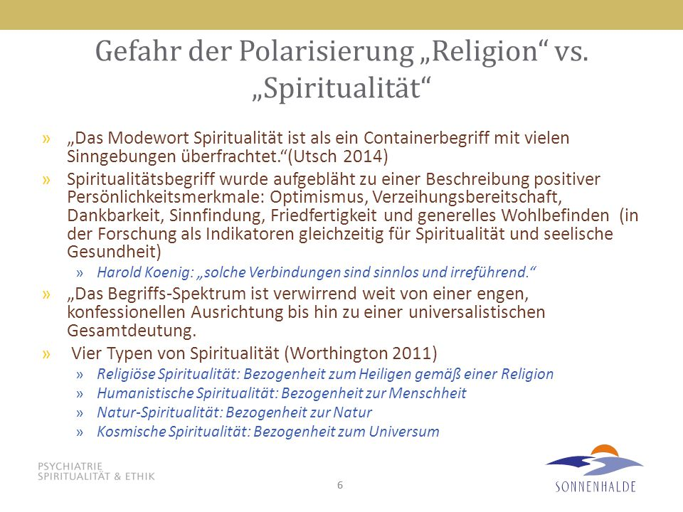 """Gefahr der Polarisierung """"Religion vs. """"Spiritualität"""