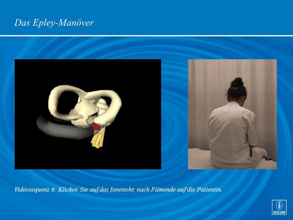 Das Epley-Manöver Videosequenz 6: Klicken Sie auf das Innenohr, nach Filmende auf die Patientin.