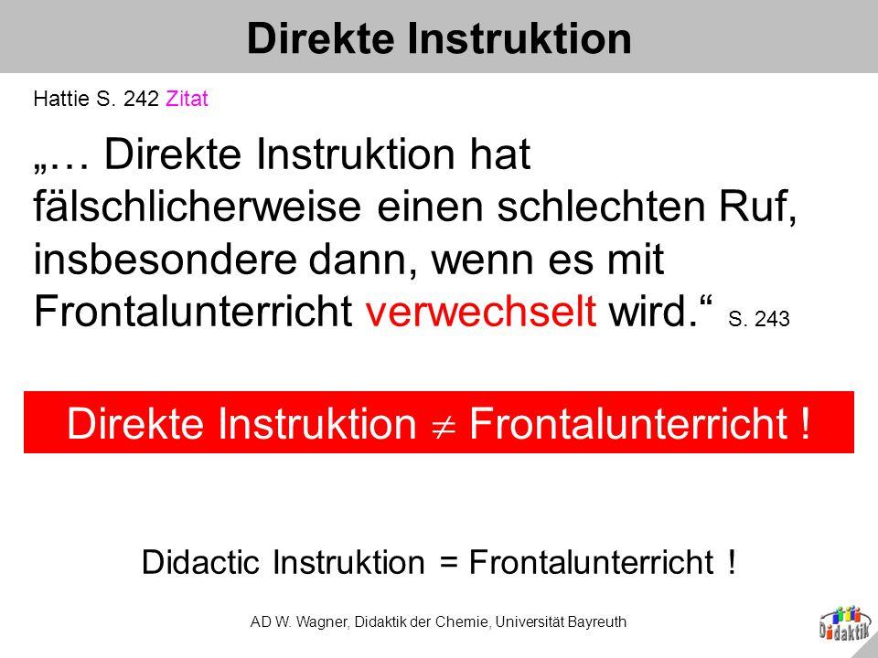 Direkte Instruktion  Frontalunterricht !
