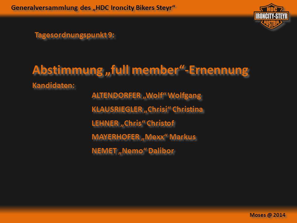 """Abstimmung """"full member -Ernennung"""