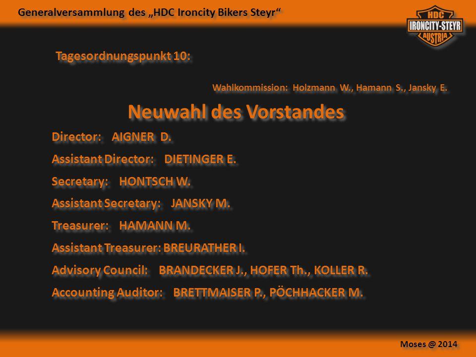 Wahlkommission: Holzmann W., Hamann S., Jansky E.