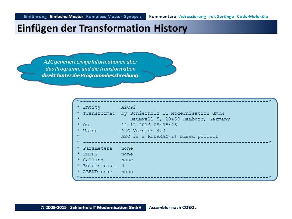 Einfügen der Transformation History