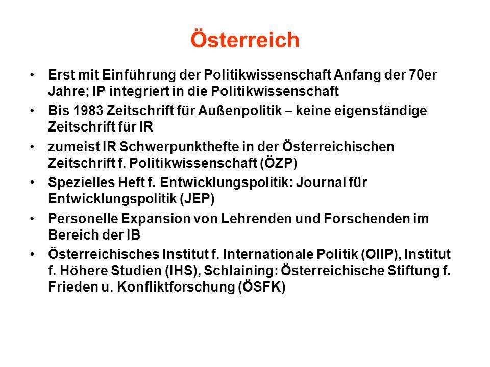 Österreich Erst mit Einführung der Politikwissenschaft Anfang der 70er Jahre; IP integriert in die Politikwissenschaft.