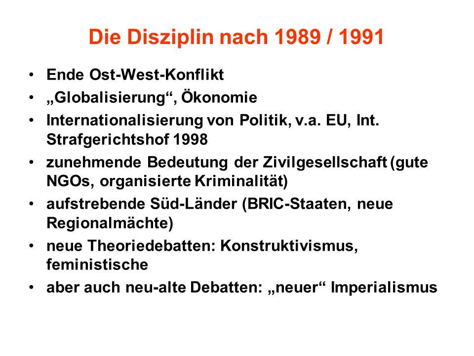 Die Disziplin nach 1989 / 1991 Ende Ost-West-Konflikt