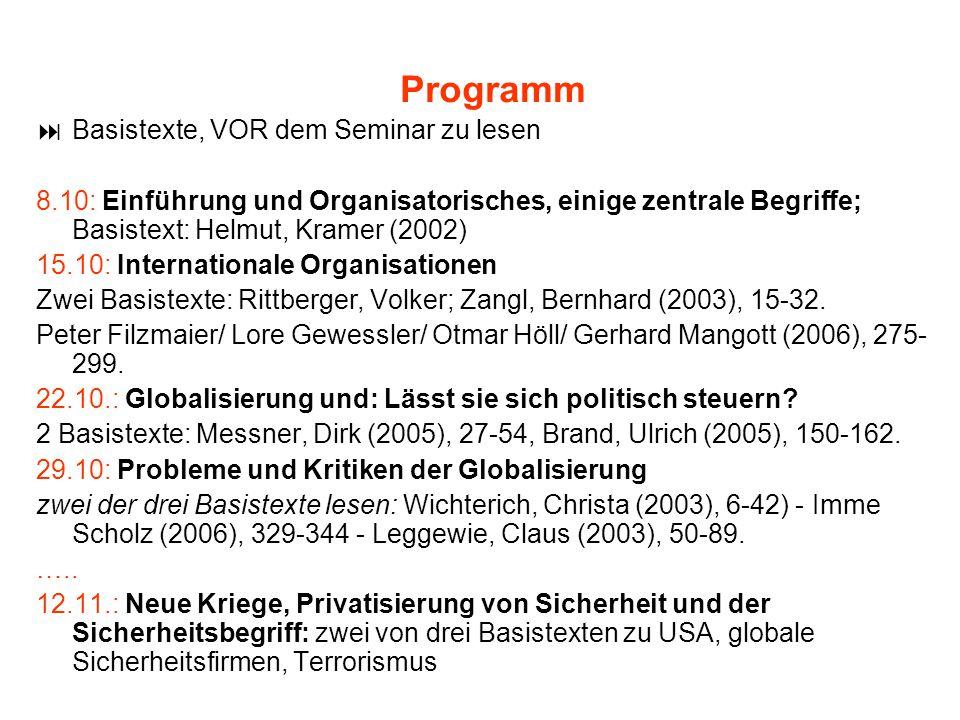 Programm Basistexte, VOR dem Seminar zu lesen