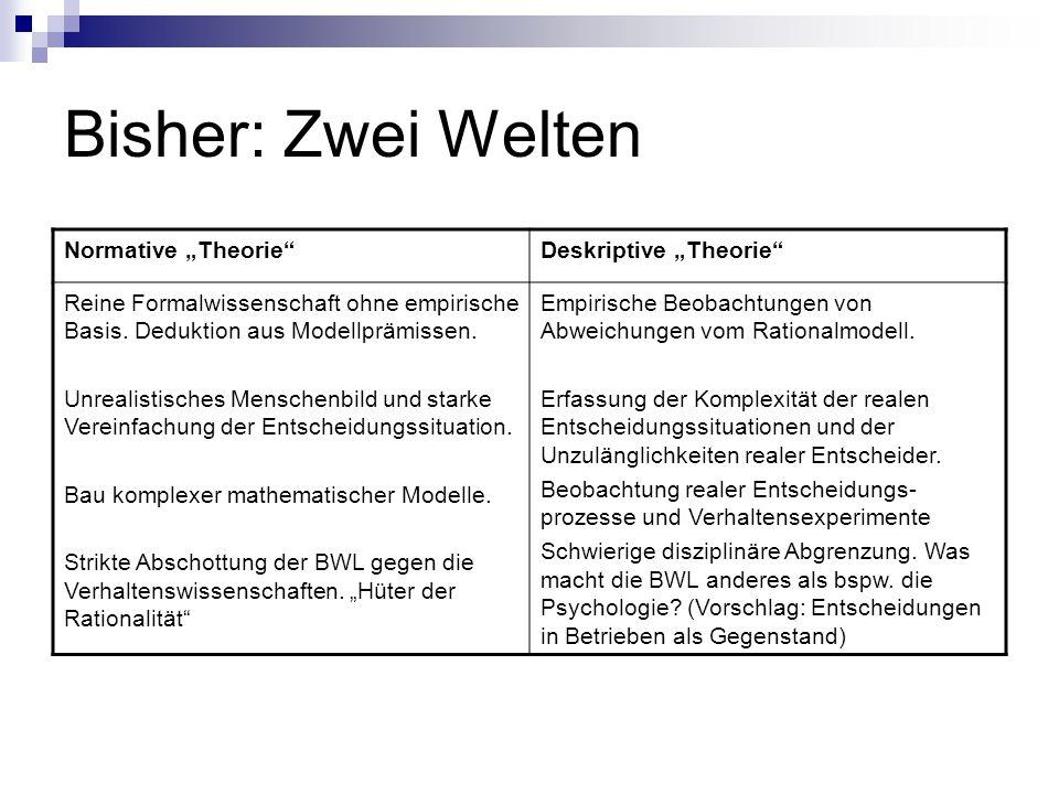 """Bisher: Zwei Welten Normative """"Theorie Deskriptive """"Theorie"""