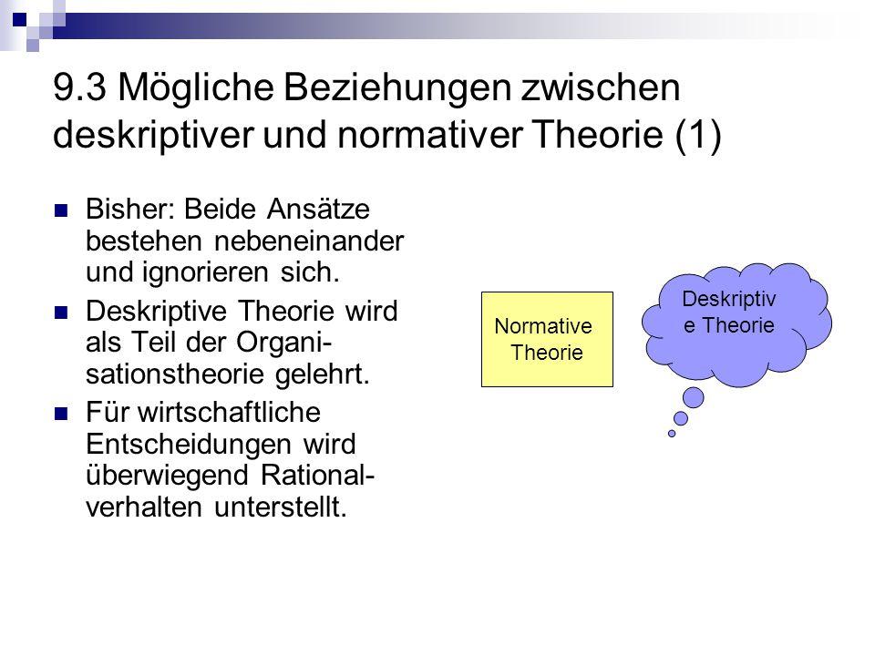 9.3 Mögliche Beziehungen zwischen deskriptiver und normativer Theorie (1)