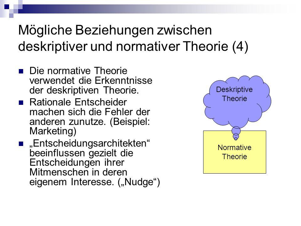 Mögliche Beziehungen zwischen deskriptiver und normativer Theorie (4)