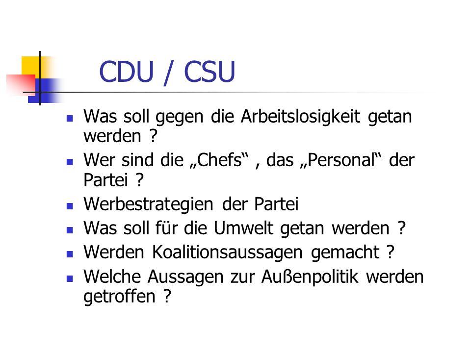 CDU / CSU Was soll gegen die Arbeitslosigkeit getan werden