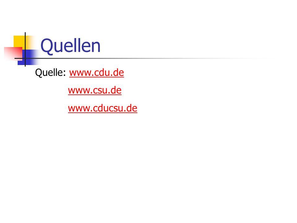 Quellen Quelle: www.cdu.de www.csu.de www.cducsu.de