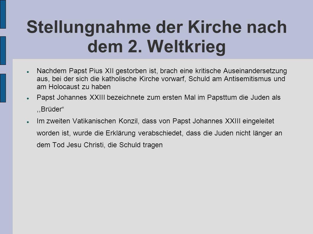 Stellungnahme der Kirche nach dem 2. Weltkrieg