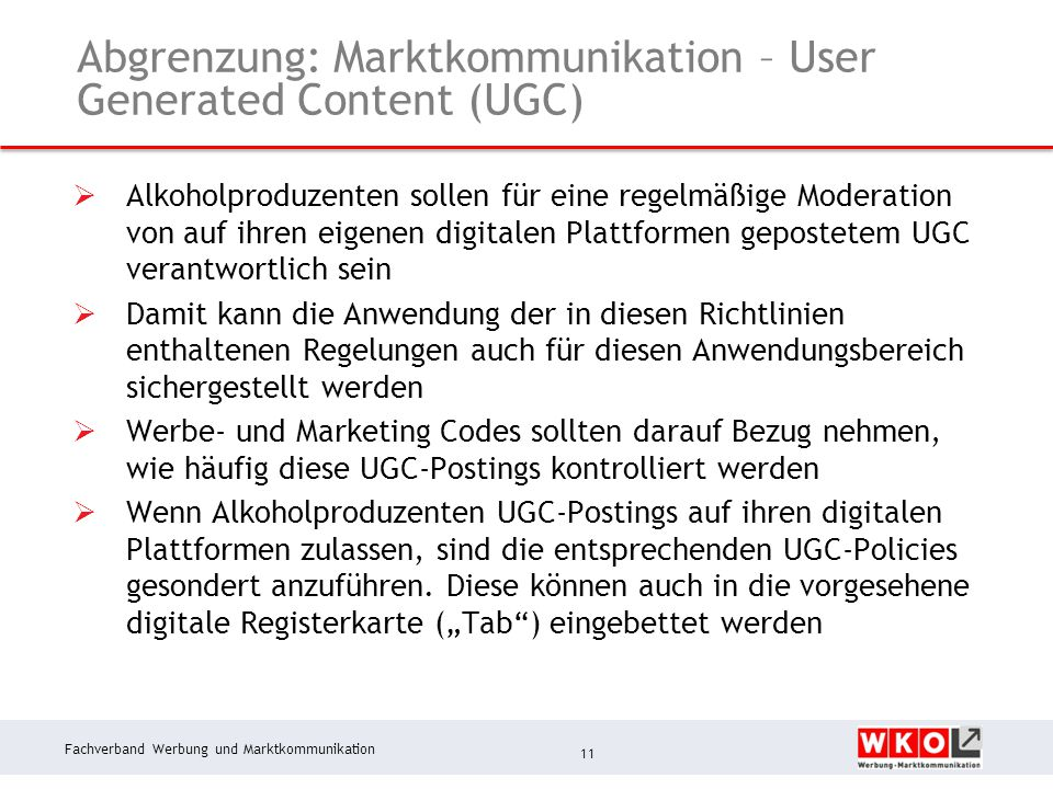 Abgrenzung: Marktkommunikation – User Generated Content (UGC)