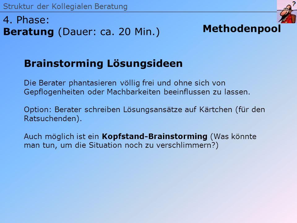 Beratung (Dauer: ca. 20 Min.) Methodenpool